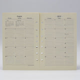 Preference Collection: PD827I 8-1/2 x 5-1/2 7-hole Planner monthly weekly calendar for 2019 or 2020 ivory loose leaf gherka bosca