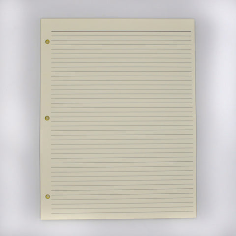 Supplements: 8-1/2 x 11 3-hole Ivory Note Sheets ruled pages off white cream 3 ring binder