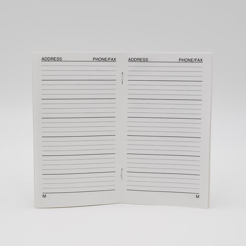 Address: 3-1/8 x 6-3/8 Telephone Staple Bound Book  Address/Telephone book organizer with white cover and 32 pages, 16 sheets ruled insert refill pages