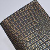 MADE IN THE USA HAND CRAFTED LEATHER 3 X 5 COVER FOR PREFERENCE COLLECTION WIRED WIREBOUND REFILL PD42WI BLACK and gold