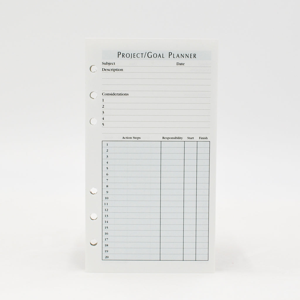 "Project/Goal Planner: 6-3/4"" X 3-3/4"" 6-Ring Loose Leaf"