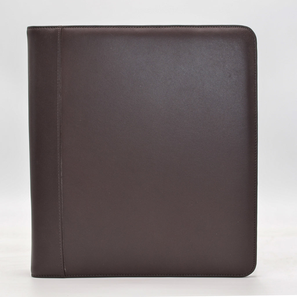 "Leather: Brown 3-Ring Binder for 8 1-2"" x 11"" inserts"