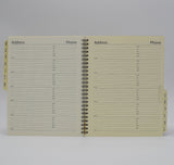 "Address Book: AD86WI 6-3/4"" x 8-3/4"" Wirebound a to z organizer telephone book wirebound ivory prefernece collection bosca"
