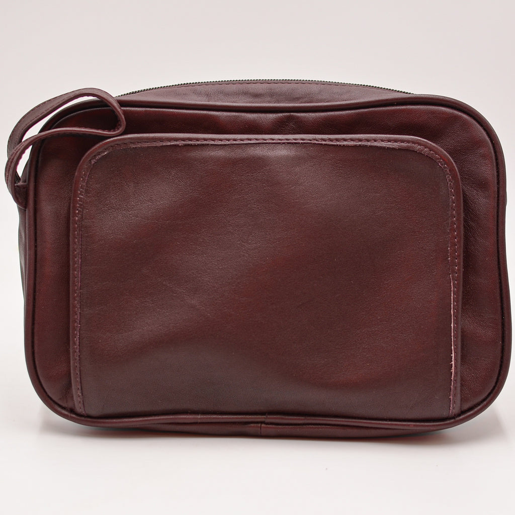 Leather: Florentine Napa Toiletry Bag/Travel Groomer burgundy leathers dopps dobbs kit