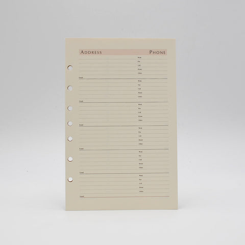 "Address Sheets: PC82AD7 8-1/2""X 5-1/2"" 7-ring ivory preference collection sungraphix 7 hole loose leaf"
