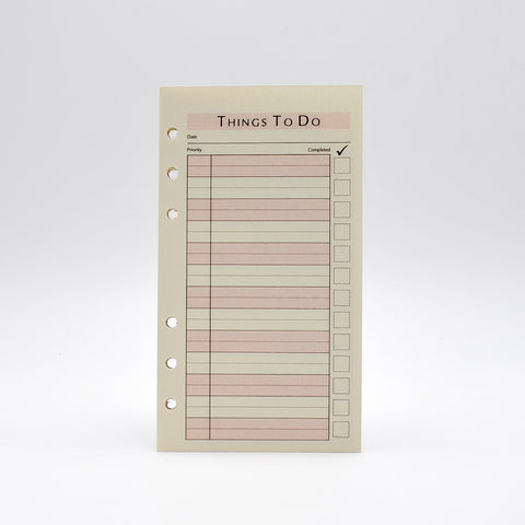 "To-Do Sheets: TD46P6 6-3/4"" X 3-3/4""  6-Ring"