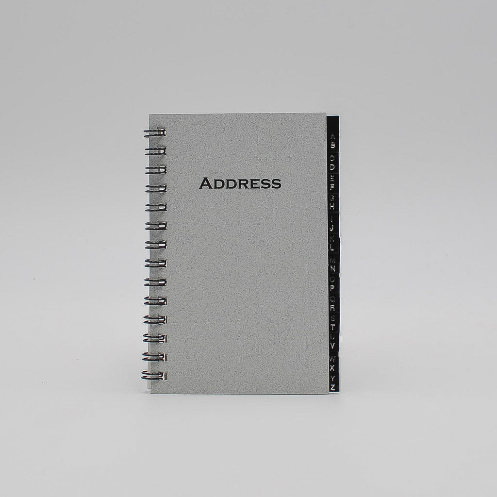 "Address Book: MA35W 3"" x 5"" Wirebound leatherette tab telephone organizer a to z alphabet tabs email white"