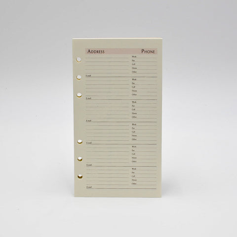 "Address Sheets: 64AD-I 6-3/4"" X 3-3/4"" 6-Ring Loose Leaf Telephone Refill sungraphix bosca 6 hole ivory sheets preference"