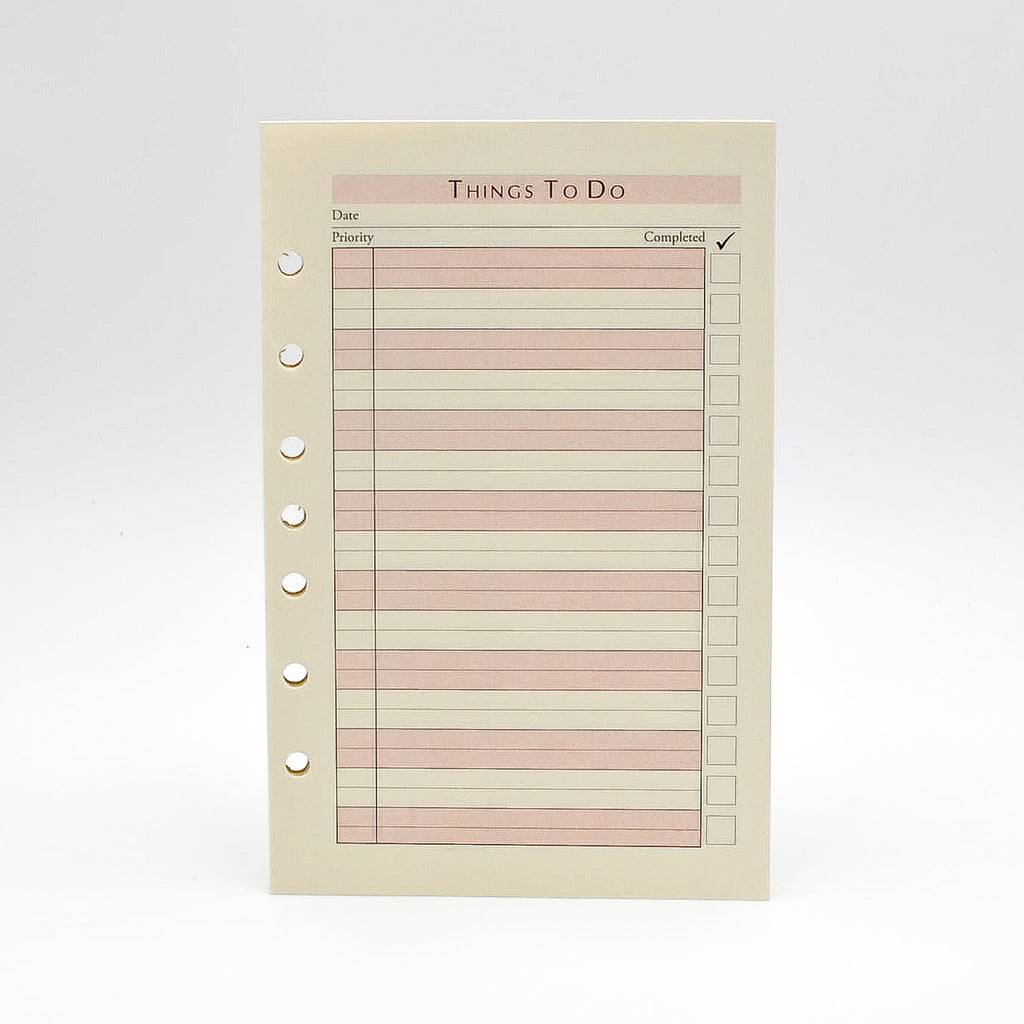 "To-do Sheets: PCTD82 8-1/2""X 5-1/2"" 3-ring or 7-ring Loose Leaf Organizer Refill"