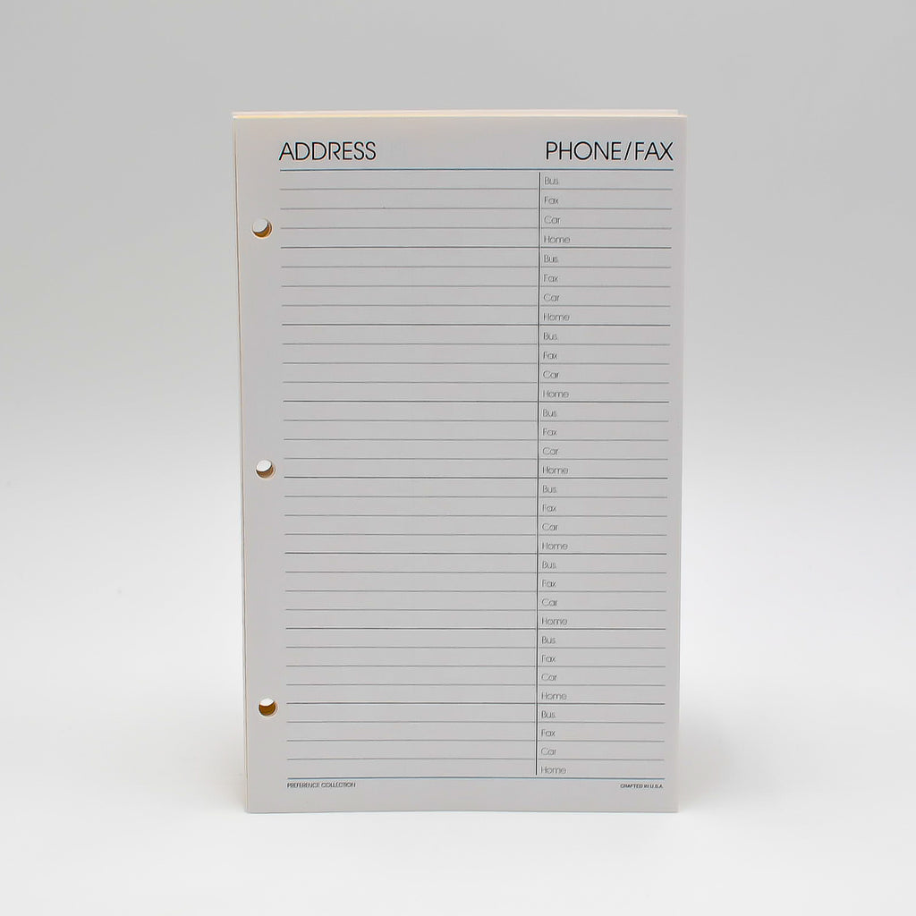 "Address Sheets: PC85AD3 8""X 5"" 3-ring Telephone Refill Loose Leaf Pages ivory preference collection planner organizer agenda refill insert 3 ring paper gherka bosca buxton phone page sheet 16 hole sheets pages page addresses phone telephone hole punched loose leaf insert inserts refill refills"