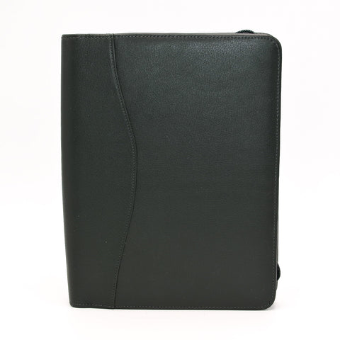 Leather: 6 x 8 Forrest Green Zippered Cover for Wirebound or 6-Hole