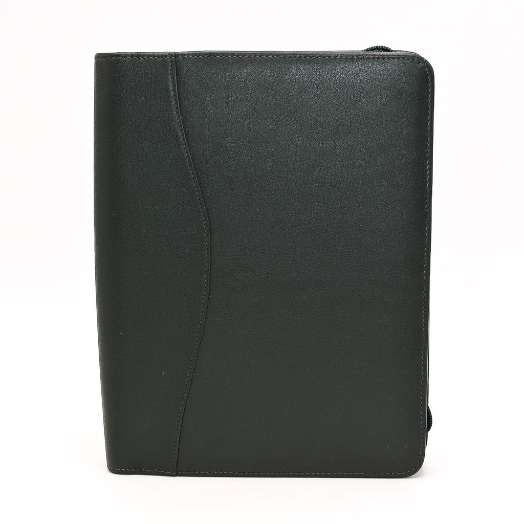 Leather: 6 x 9 Forrest Green Zippered Cover for Wirebound, 3-Hole, or 7-Hole Inserts