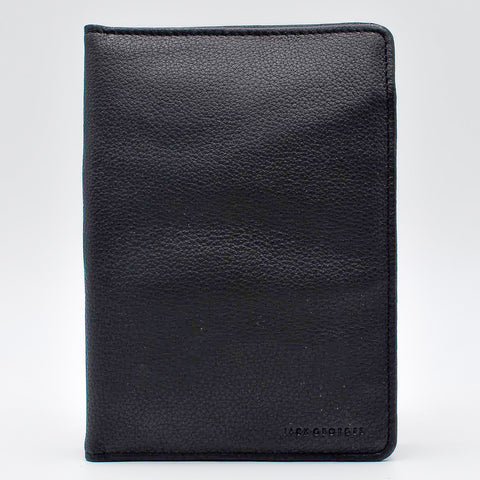 Jack Georges Black Cover for 5x8 Planner Insert leather with document pockets and business card holder