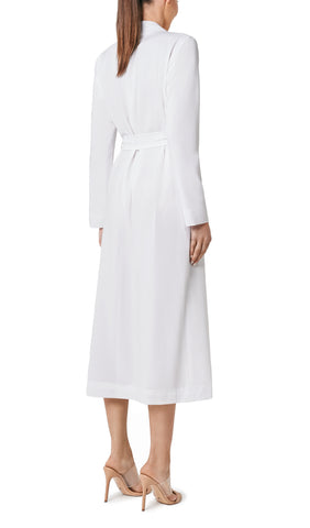 SALIRE LONG DUSTER JACKET- WHITE