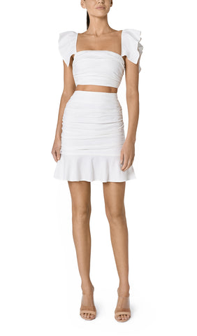 SOLE RUCHED LINEN CROP (OFF WHITE)