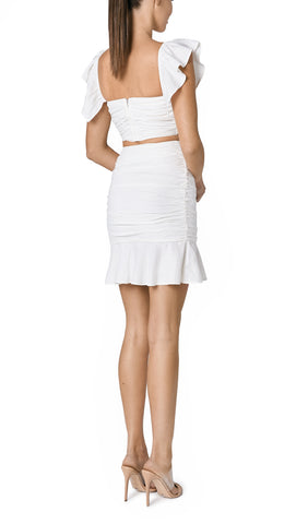 SOLE RUCHED LINEN SKIRT (OFF WHITE)