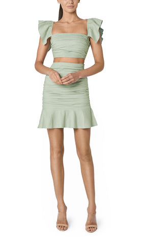 SOLE RUCHED LINEN CROP (SAGE GREEN)