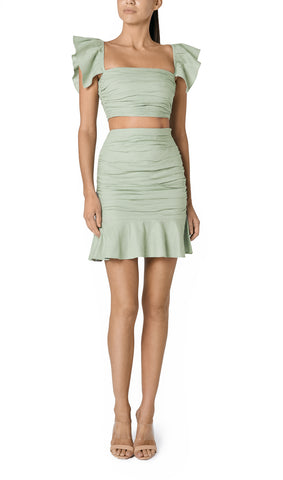 SOLE RUCHED LINEN SKIRT (SAGE GREEN)