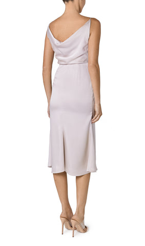 FREYA COWL NECK SATIN DRESS- PEARL