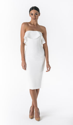AURORA STRAPLESS FLOUNCE DRESS