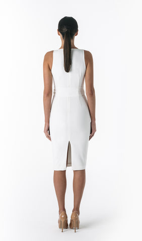 AURORA DEEP PLUNGE DRESS- WHITE