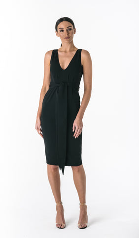AURORA DEEP PLUNGE DRESS- BLACK