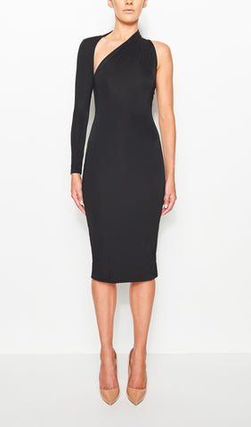 SIENNA ONE SHOULDER DRESS (BLACK)