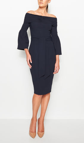 SPENCER GATHERED OFF THE SHOULDER DRESS- NAVY