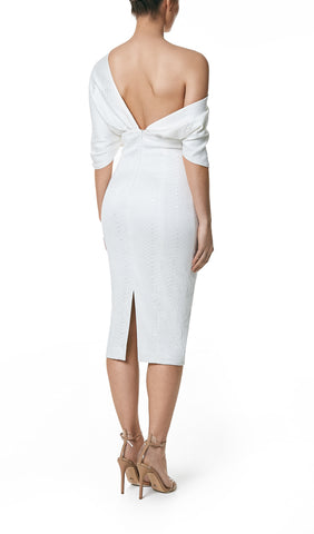 FREYA SHAWL DRAPE DRESS- WHITE