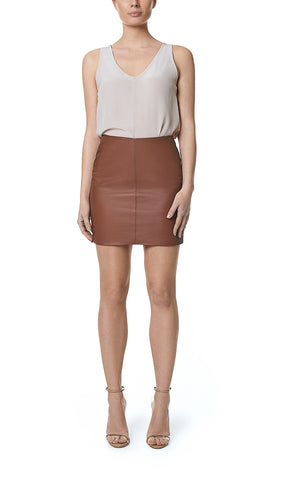 SALIRE MINI LEATHER SKIRT- BROWN