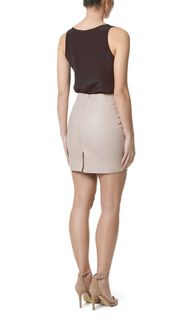SALIRE MINI LEATHER SKIRT- CHAMPAGNE