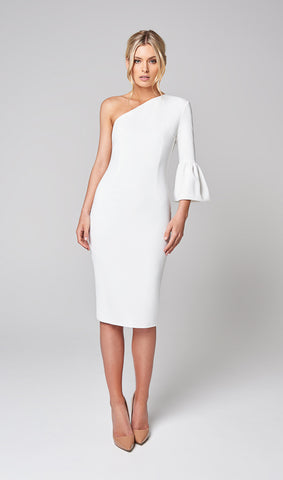 FLORA ONE SHOULDER BELL SLEEVE DRESS (WHITE)