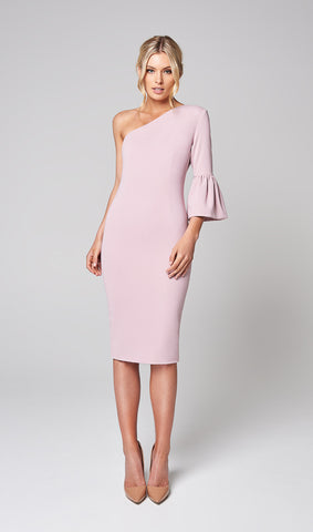 FLORA ONE SHOULDER BELL SLEEVE DRESS (BLUSH)