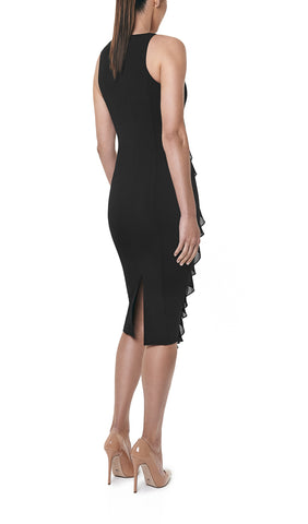 SILK FRILL DRESS (BLACK)