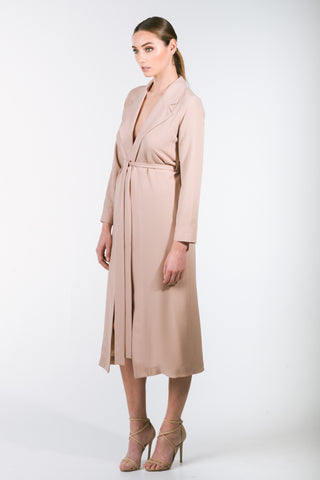 SALIRE LONG DUSTER JACKET- LATTE