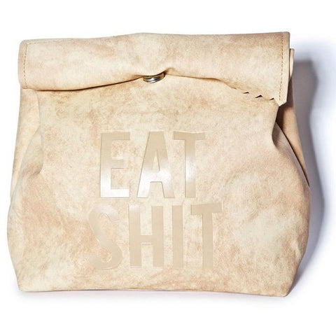 Eat Shit Suede Clutch Handbag-Accessories-Vintage Rockstar