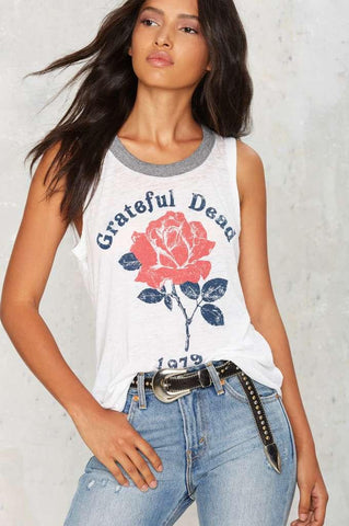 Grateful Dead Muscle Tank-Womans-Vintage Rockstar
