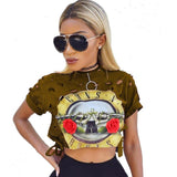 Guns N' Roses Vintage Shredded Crop Top-Womans-Vintage Rockstar