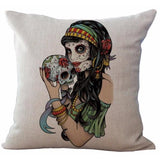 Gypsy Day of the Dead Cushion Cover-Cushions-Vintage Rockstar