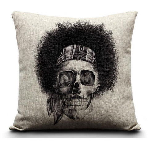Jimi Hendrix Skull Cushion Cover-Home Decor-Vintage Rockstar