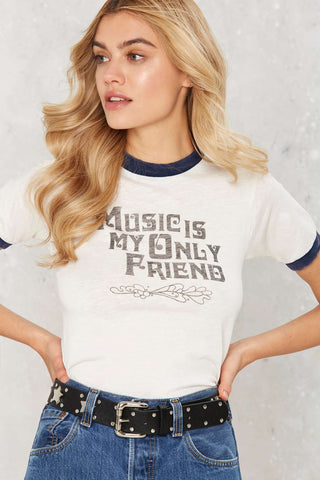 Music Is My Only Friend Ringer Tee-Womans-Vintage Rockstar