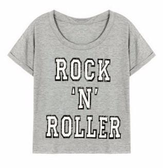 Rock N Roller Cropped Tee-Womans-Vintage Rockstar