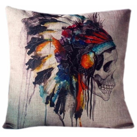 Skull Cushion Cover-Home Decor-Vintage Rockstar