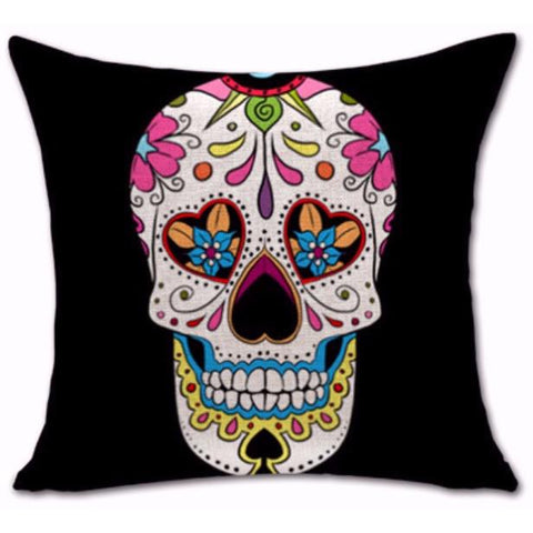 Sugar Skull Cushion Cover-Cushions-Vintage Rockstar
