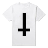 Upside Down Cross T-shirt-Mens-Vintage Rockstar