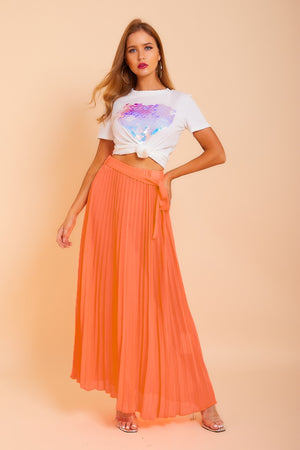 Neon  Pleated Maxi Skirt