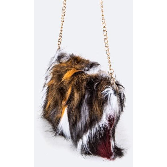 Multi Color Faux Fur Clutch