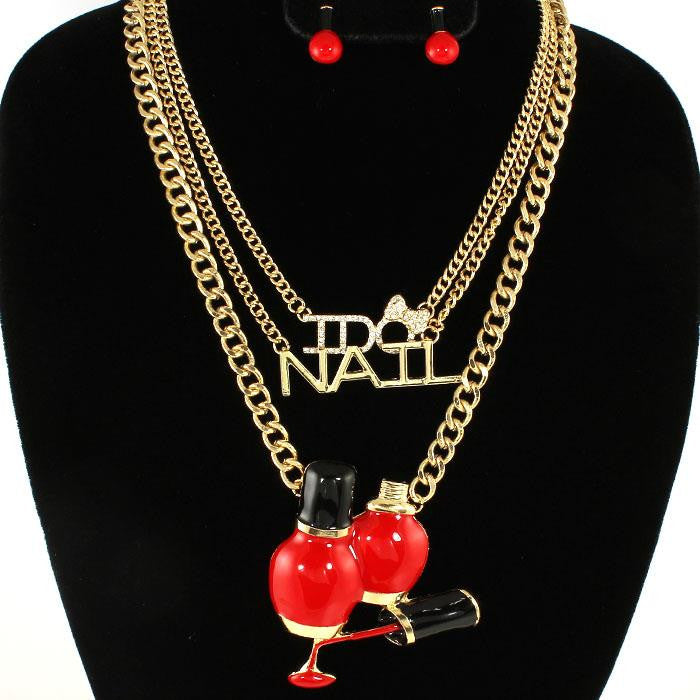 I Do Nails Fashion Charm Necklace Set