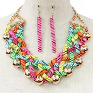 Rainbow Braided Mesh Necklace Set