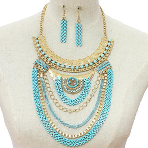 Layered Chain Necklace & Earring Set